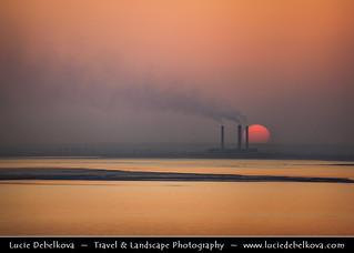 Kuwait - Sunset behind the Power Plant