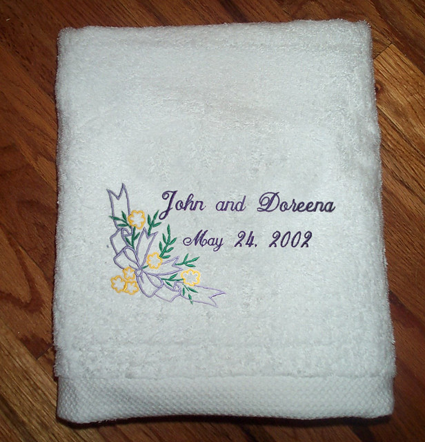 Personalized wedding towel flickr photo sharing for Embroidered towels for wedding gift