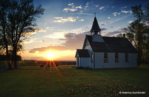 Sunset with Church and Dandelions