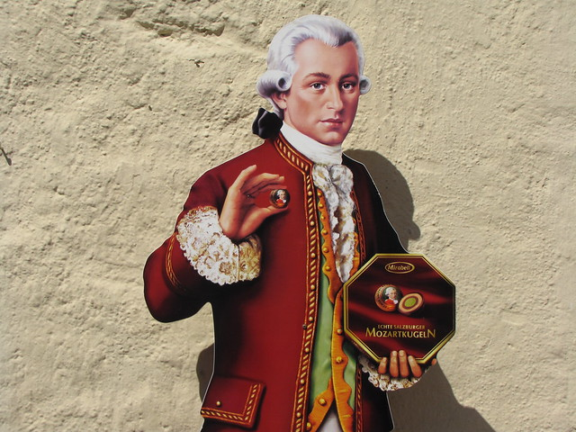 """Mozart, tired of composing music, now hawks chocolates in Salzburg"""