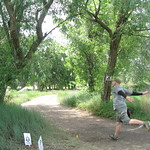 The Chad bends a drive on hole #8 @ Pessimist