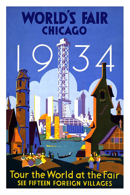 Vintage travel poster chicago world 39 s fair flickr for Vintage chicago posters