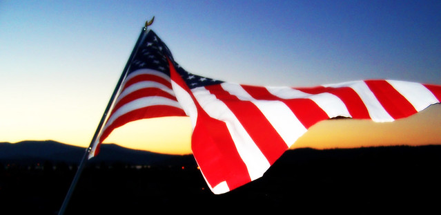 Backyard American Flag Sunset by flickr user Carissa GoodNCrazy