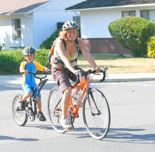 Mom and son cycling