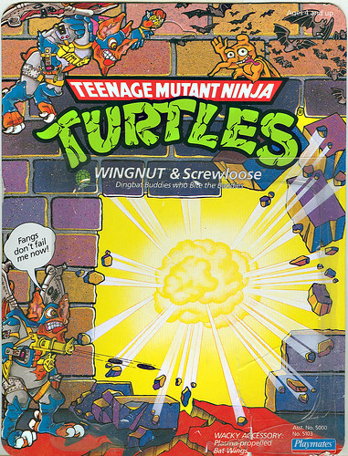 TEENAGE MUTANT NINJA TURTLES :: WINGNUT & SCREWLOOSE   ..card backer i (( 1990 ))