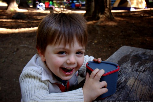 enjoying hot chocolate for his first ever camping breakfast    MG 9859
