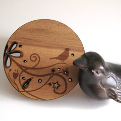 wood bird coasters
