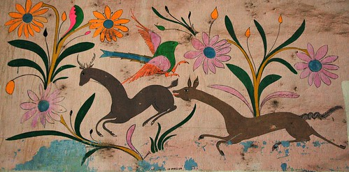 Antique Mexican painting of deer, flowers, bird, de Pascua, Hotel Belmar, Mazatlan, Sinaloa, Mexico by Wonderlane