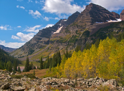 Maroon Bells with Aspens, Colorado
