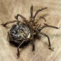Steampunk Clockwork Spider Brass and Copper Wire Sculpture by Catherinette Rings Steampunk