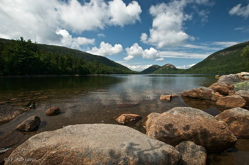 usa clouds reflections pond rocks anp maine glaciers nationalparks acadia jordanpond acadianationalpark thebubbles northbubble southbubble nikond300 sjadriano backfromminitrip