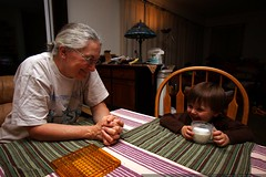 grandma anna and sequoia saying goodnight over a cup…
