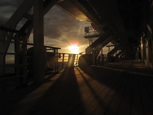 ocean cruise sunset sea sky cloud water boat ship deck