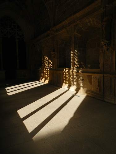 Shadows of the arches in Najera Monastery in Spain