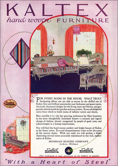 1925 Art Deco Kaltex Ad for Wicker Furniture