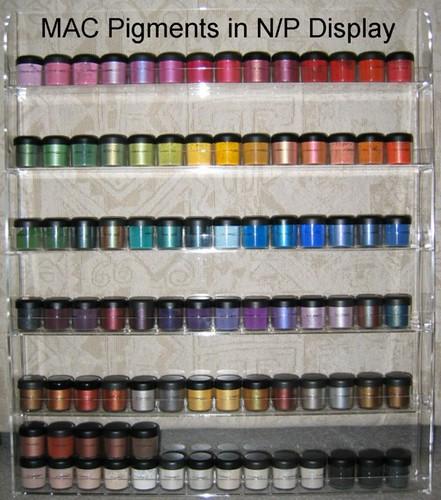 MAC Pigments in a Nail Polish Wall Rack / Display
