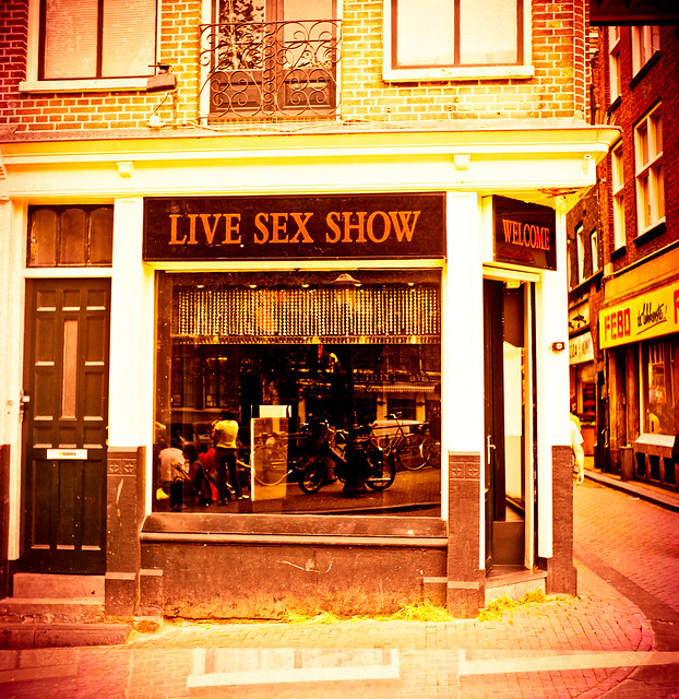 Live Sex Show in Amsterdam Red Light zone. Shot on a Seagull TLR Medium ...