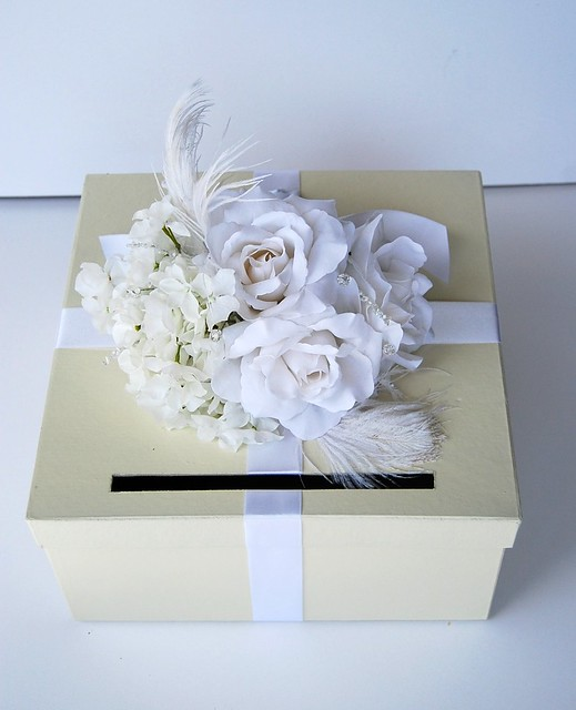 Vintage Glam Wedding Card Box Ivory White With Crystals Feathers