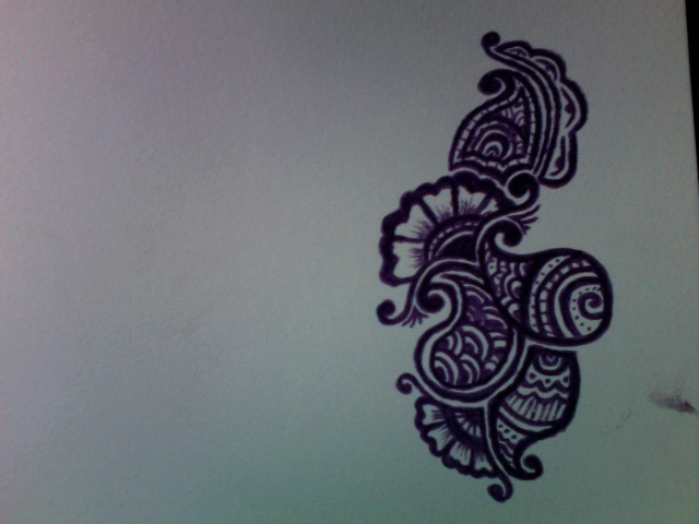 Mehndi Drawing Photos : Simple mehndi design pencil drawing makedes