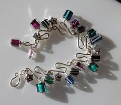 Cane glass drop bracelet