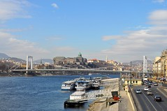 Budapest Castle Hill, Elizabeth Bridge and the Danube from Liberty Bridge