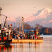 Steveston Fisherman's Wharf with Snow Capped Mt. Baker in Richmond BC Canada