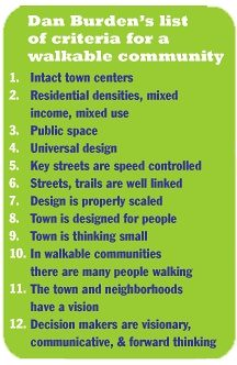 Dan Burden's 12 indicators for a walkable community