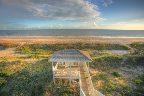 ocean blue beach water clouds northcarolina gazebo deck oakisland