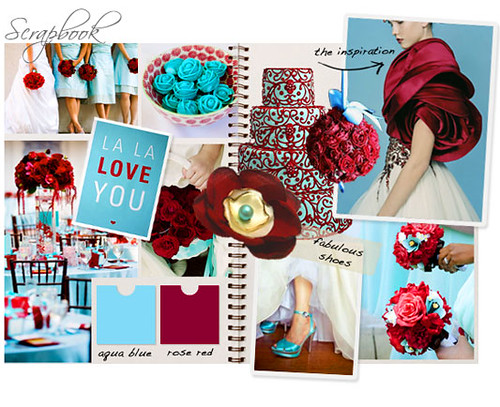 Romantic red and stunning aqua blue make a striking combination