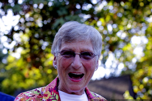 joan wright at the neighborhood potluck