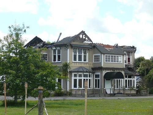Destroyed remains of Maze Manor, Manawatu, New Zealand