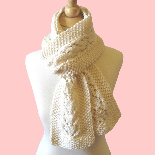 ABC Knitting Patterns - Angled Lace Scarf.