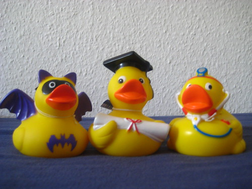 Bat duck, grad duck and Doc duck