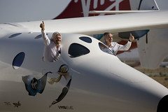 Sir Richard Branson and Burt Rutan Seen in the Cockpit of VMS Eve as she is rolled out to the public, Mojave, July o8. Credit Mark Greenberg