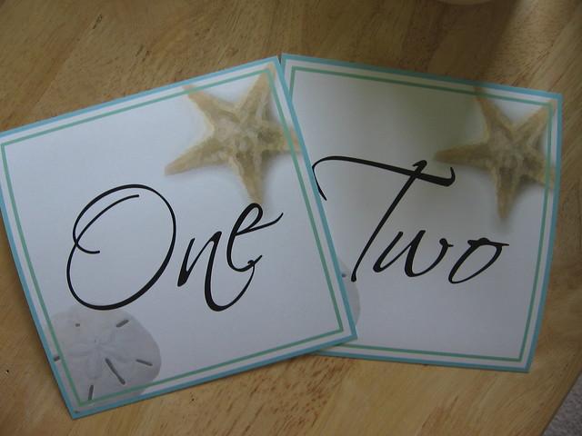Blue Green Beach Theme Wedding Table Numbers