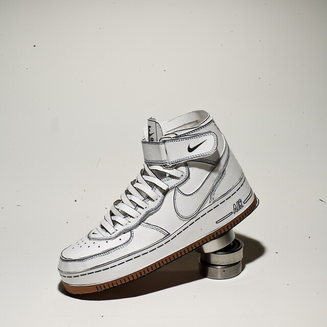 Paper Nike Air Force One mid (White/Gum) 3