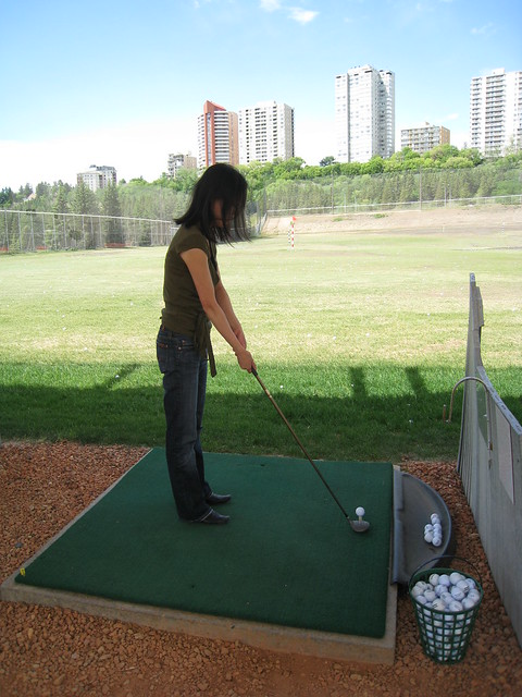 Sharon at the driving range