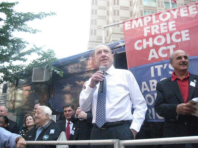 Senator Arlen Specter speaks to union members in 2009. Photo by Bernard Pollack on Flickr. Licensed under Creative Commons.