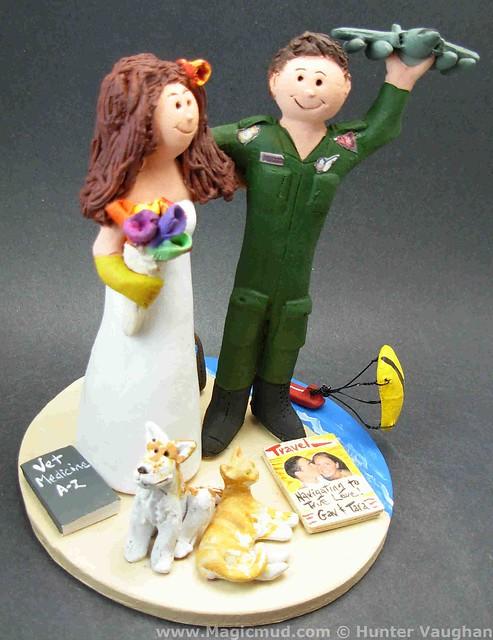 Army Jet Pilot 39s Wedding Cake Topper visit wwwmagicmudcom