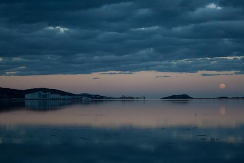moon storm reflection heron water clouds port jetty australia calm silo fullmoon wharf albany westernaustralia hillssunset briarah1969