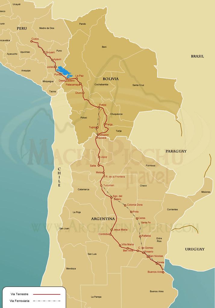 Mapa Argentina(Buenos Aires) - MachuPicchu (Perú)