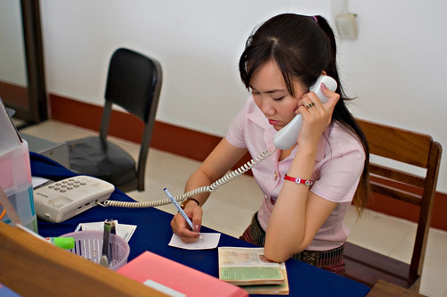 Ticket sales in Lao Airlines office