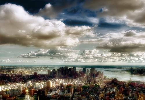 nyc newyorkcity ny newyork skyline clouds skyscraper geotagged newjersey jerseycity downtown chelsea cityscape view state manhattan nj midtown esb empire hudsonriver empirestatebuilding statueofliberty verrazanobridge hdr observationdeck mudpig stevekelley justclouds