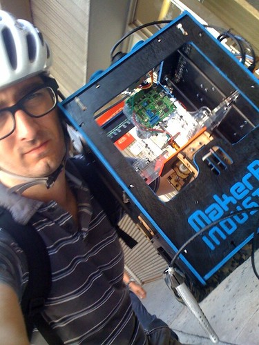 Riding with a MakerBot on the handlebars!