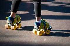 footwear, yellow, roller skates, blue,