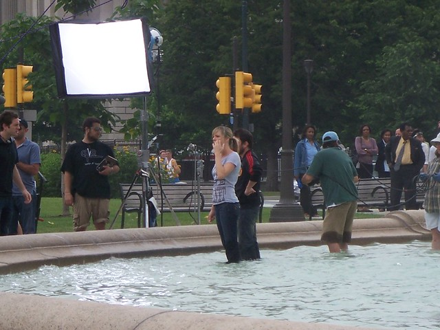 between takes in the fountain
