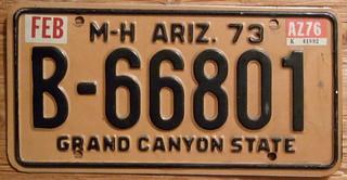 ARIZONA 1973-76 ---MOTORHOME LICENSE PLATE
