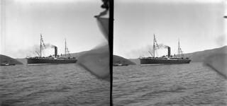 Steam ship Mararoa in Akaroa Harbour, April 1909