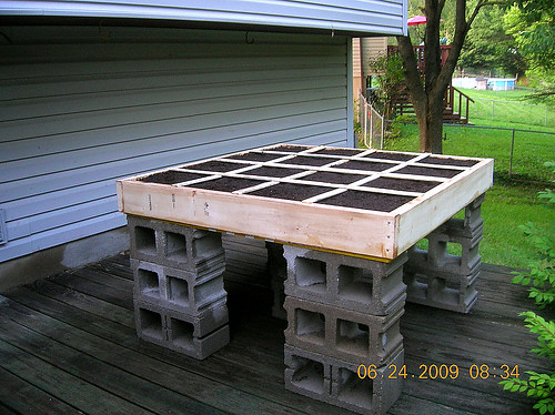 sounds like what you want to build is a raised square foot garden something like this - Waist High Raised Garden Bed Plans