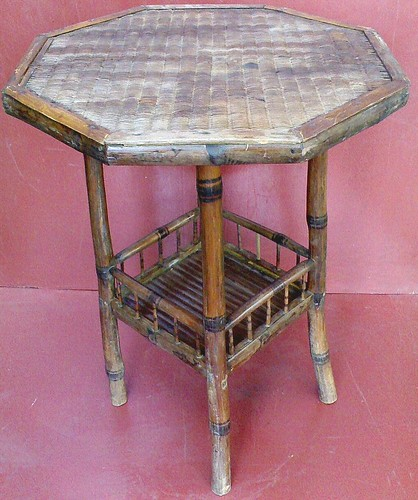 Antique Bamboo Ochovados Table with Pokerwork